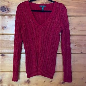 Size L. Red and metallic Lauren V neck sweater